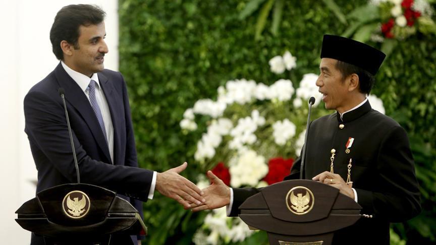 أمير قطر ورئيس إندونيسيا يبحثان تعزيز العلاقات والمستجدات الدولية