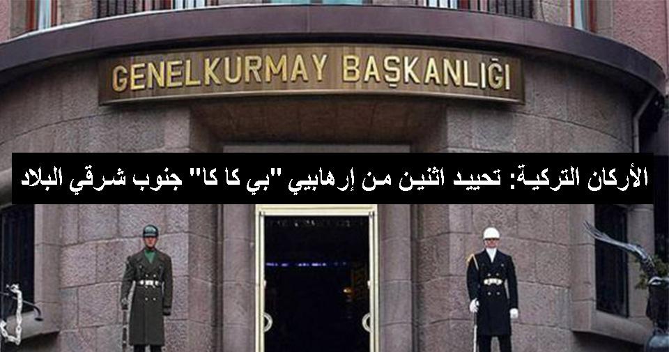 """الأركان التركية: تحييد اثنين من إرهابيي """"بي كا كا"""" جنوب شرقي البلاد"""