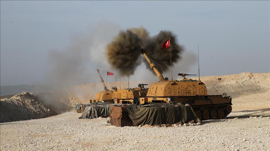 المدفعية التركية تستهدف مواقع للإرهابيين غربي عفرين