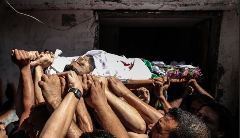 تشييع جثمان فلسطيني استشهد برصاص الجيش الإسرائيلي شمالي غزة