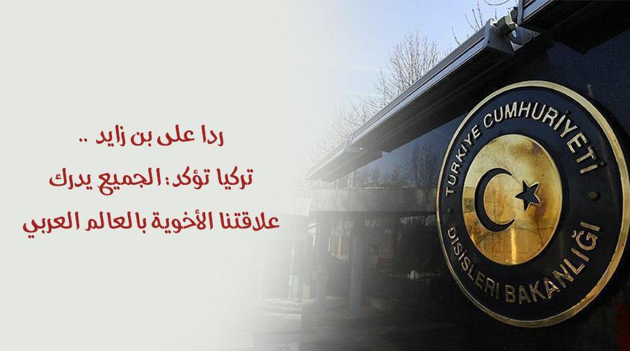 ردا على بن زايد .. تركيا تؤكد: الجميع يدرك علاقتنا الأخوية بالعالم العربي