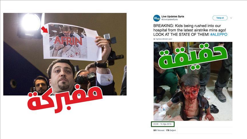 في مؤتمر صحفي ليلدريم.. شخص يرفع صورا مزيفة لتشويه عملية عفرين
