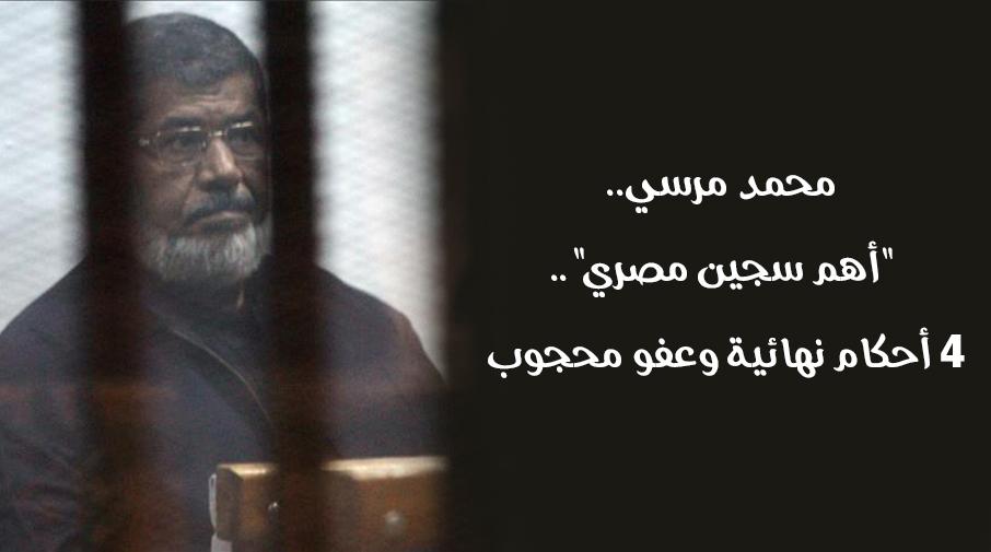 """محمد مرسي..""""أهم سجين مصري"""".. 4 أحكام نهائية وعفو محجوب"""