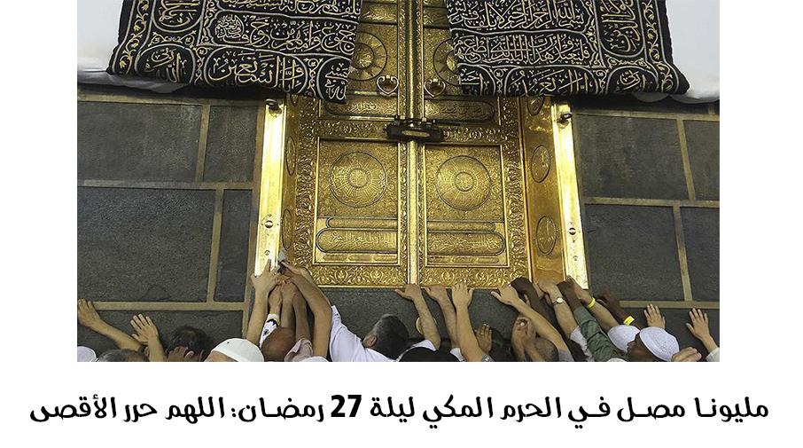 مليونا مصل في الحرم المكي ليلة 27 رمضان: اللهم حرر الأقصى