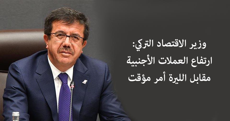 وزير الاقتصاد التركي: ارتفاع العملات الأجنبية مقابل الليرة أمر مؤقت