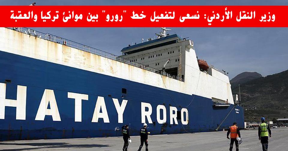 """وزير النقل الأردني: نسعى لتفعيل خط """"رورو"""" بين موانئ تركيا والعقبة"""